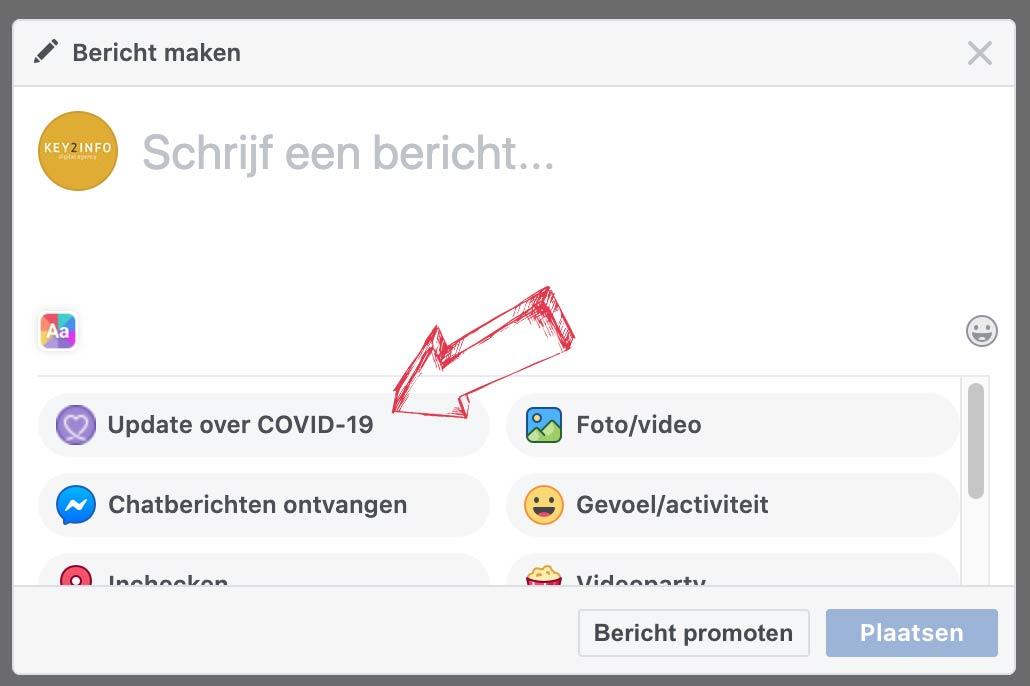 Voorbeeld van de facebook COVID 19 tag optie