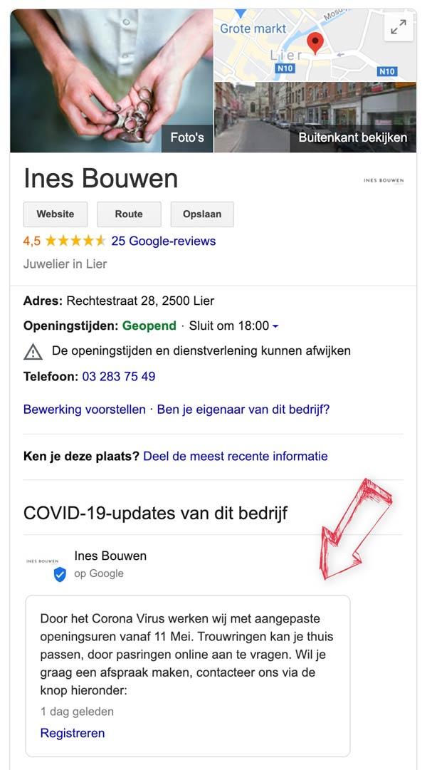 Voorbeeld van Google My Bussiness COVID 19 update optie