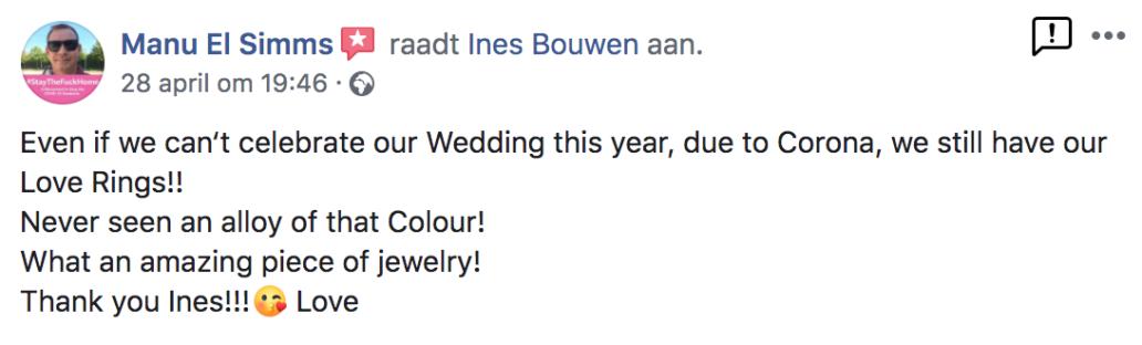 Facebook berichtje van iemand die content is over Ines Bouwen