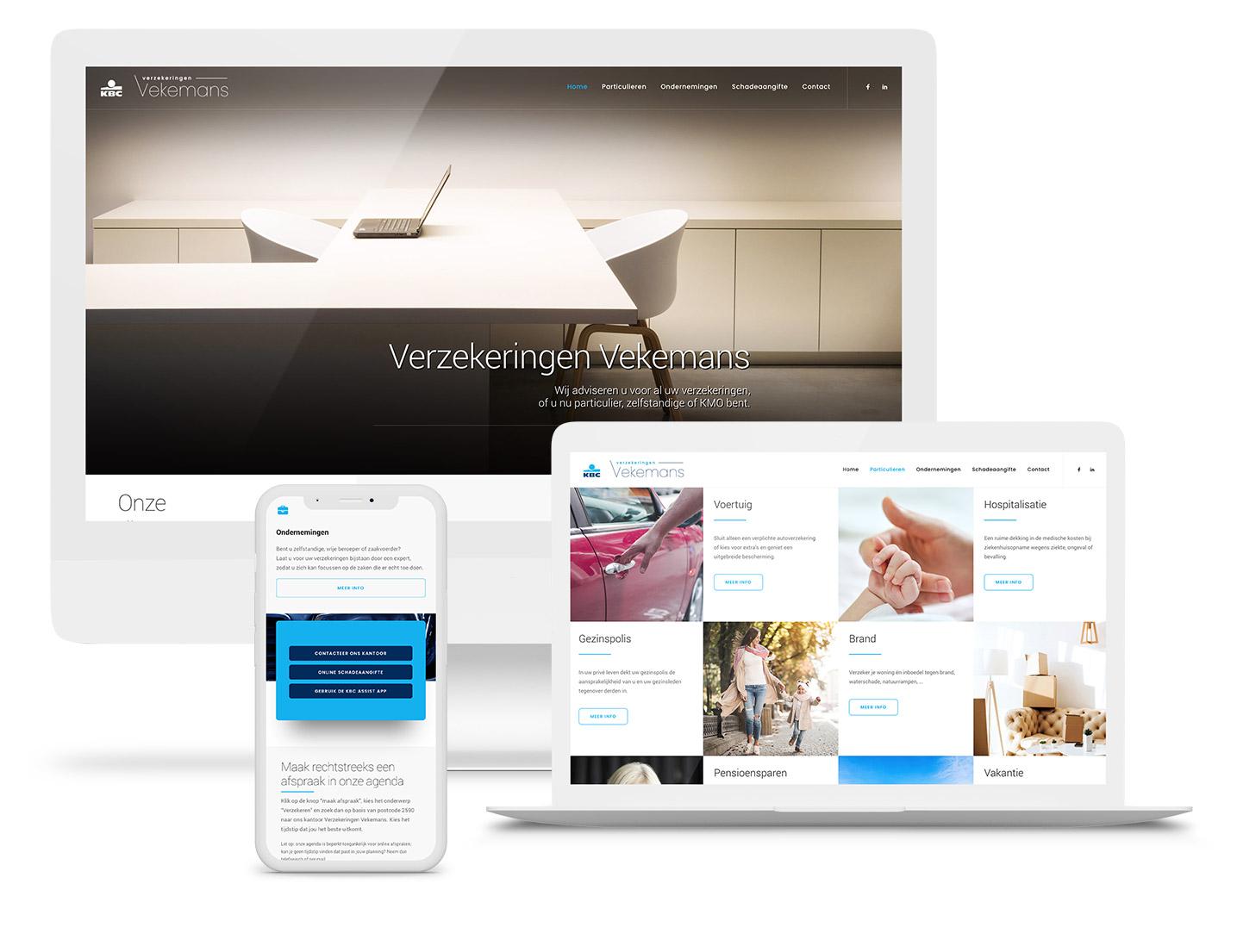 Voorbeeld van een nieuwe website die Key2info ontwerpen heeft voor KBC Verzekeringen Vekemans