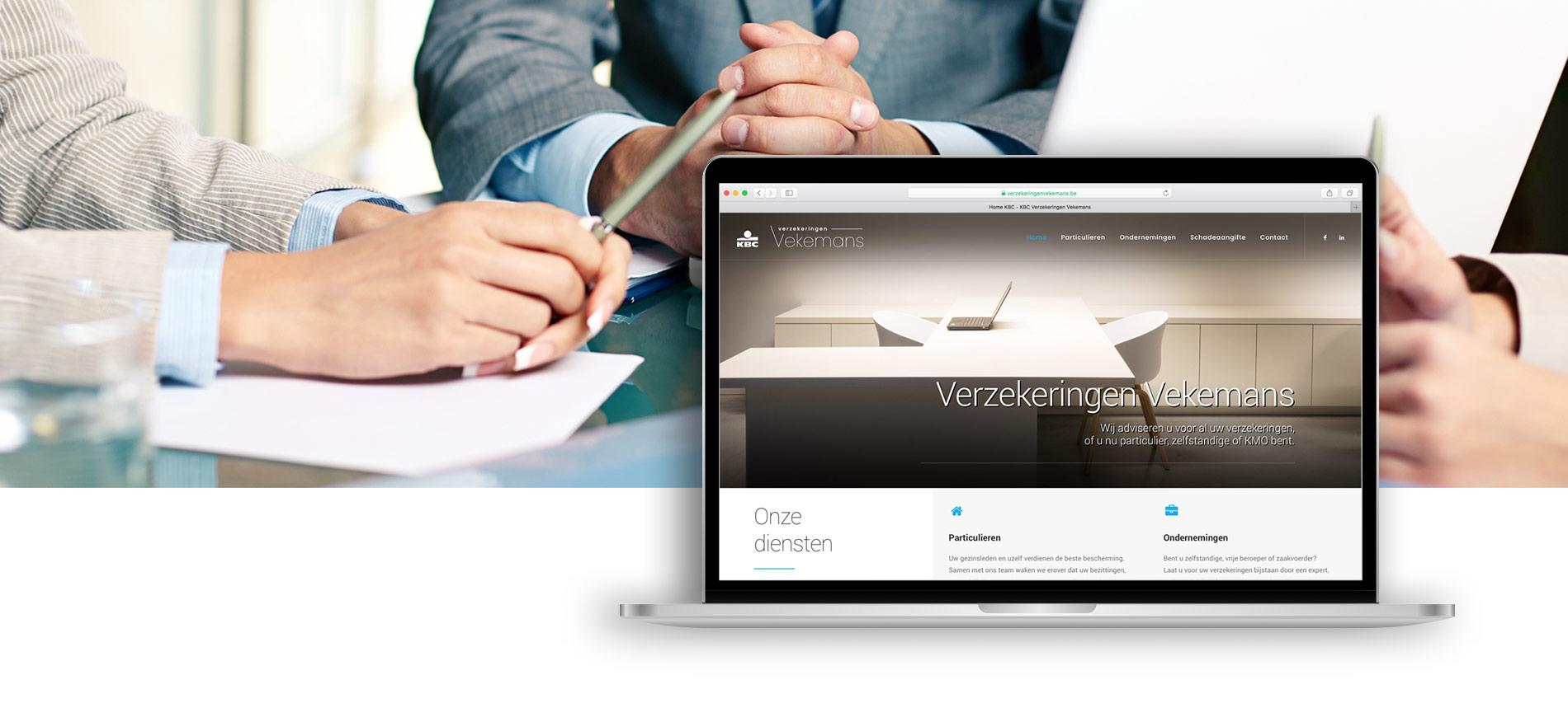 Voorbeeld van website design KBC verzekeringen vekamans